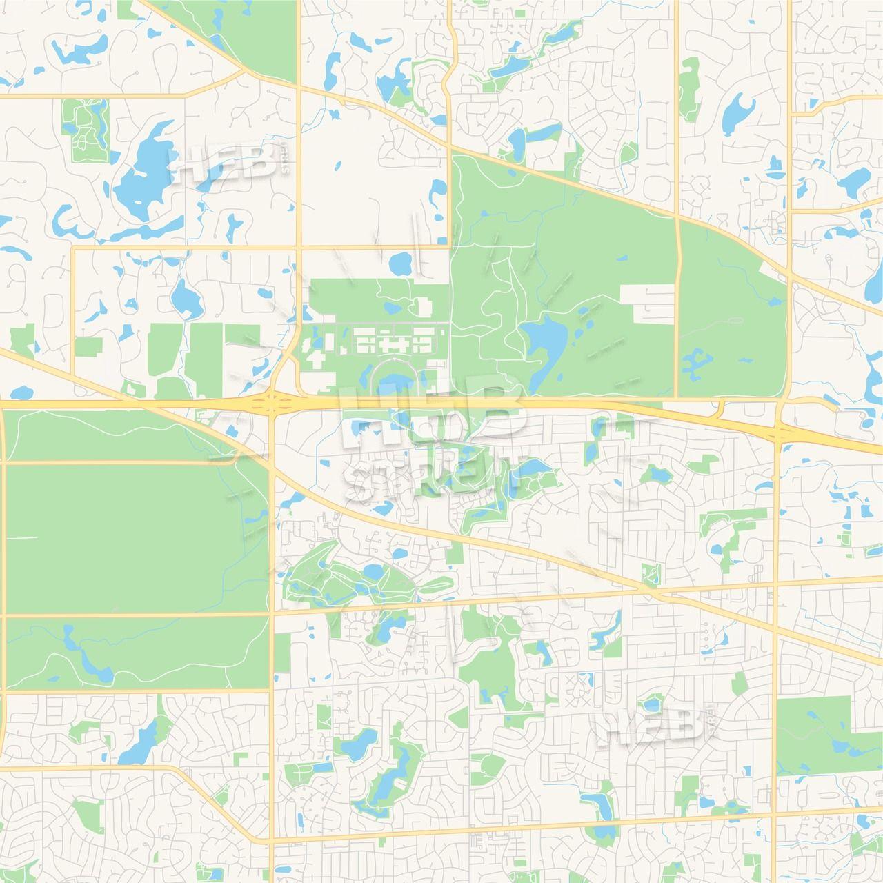 Empty vector map of Hoffman Estates, Illinois, United States ...