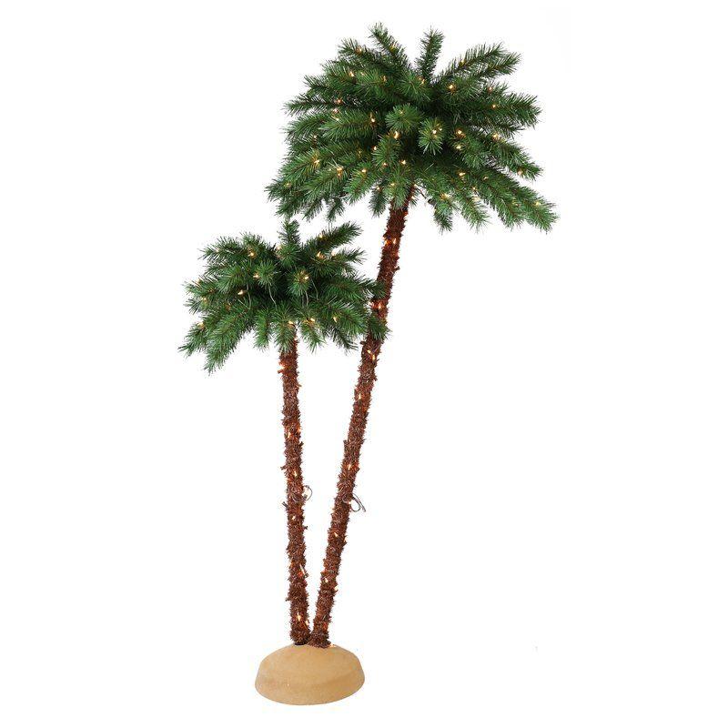 2 Pre Lit Artificial Palm Tree Slim Artificial Christmas Trees
