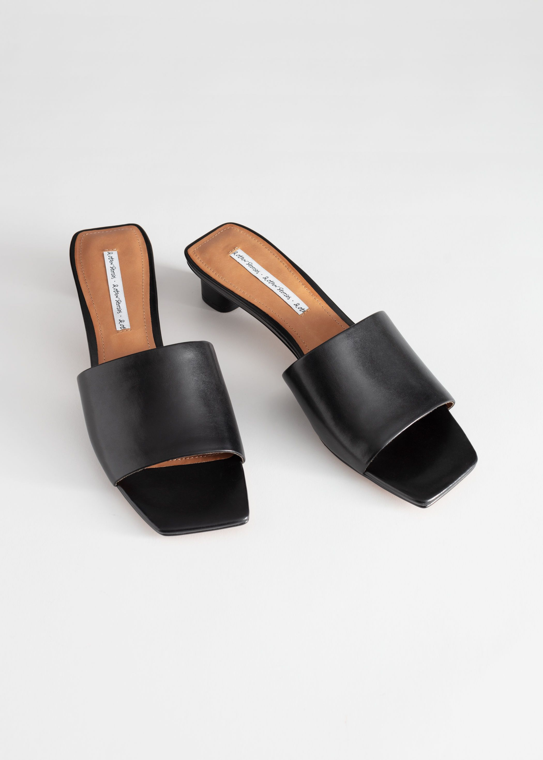 Square Toe Leather Mules | Sandals