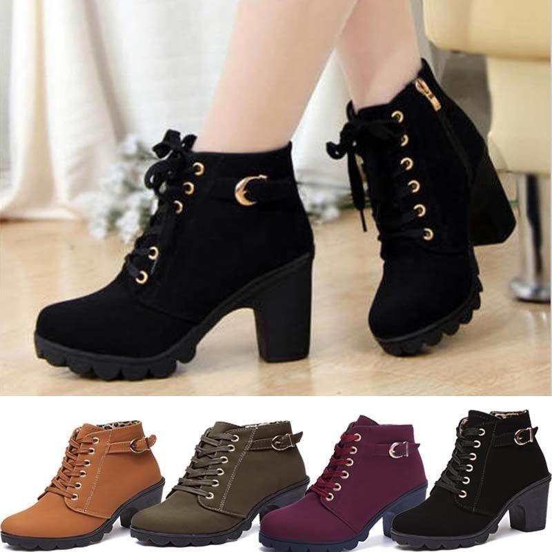 47d22e5a66b Womens High Heels Martin Ankle Boots Ladies Zipper Lace Up Buckle Platform  Shoes