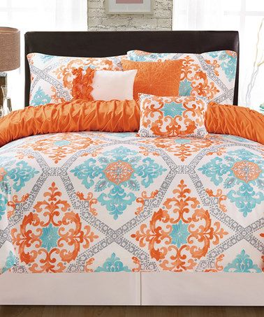 Love this Orange  Aqua Maddy Six-Piece Bedding Set on #zulily - Orange Bedrooms