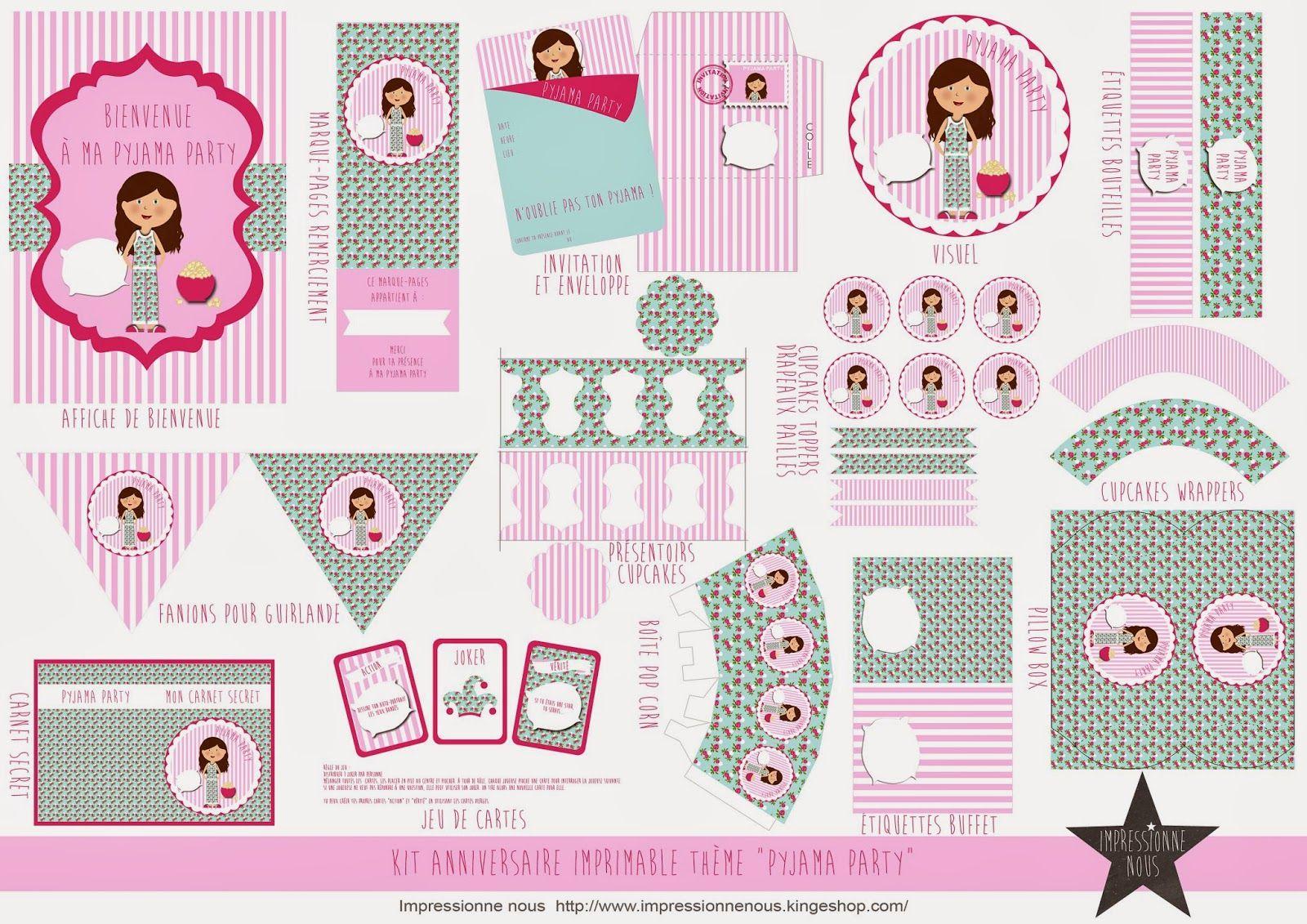 kit a imprimer pyjama party