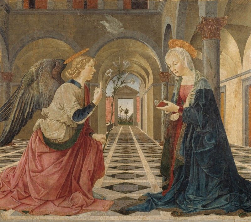It S Two Angels They Have Halos And Wings Oh Wait Only One Person Has Wings And The Wings Are Dark They Are Pointy And Annunciation Gardner Museum Art