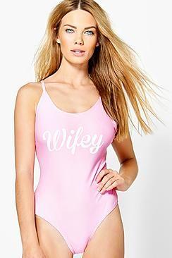 67977a9e053c5 Cuba Wifey Slogan Scoop Swimsuit