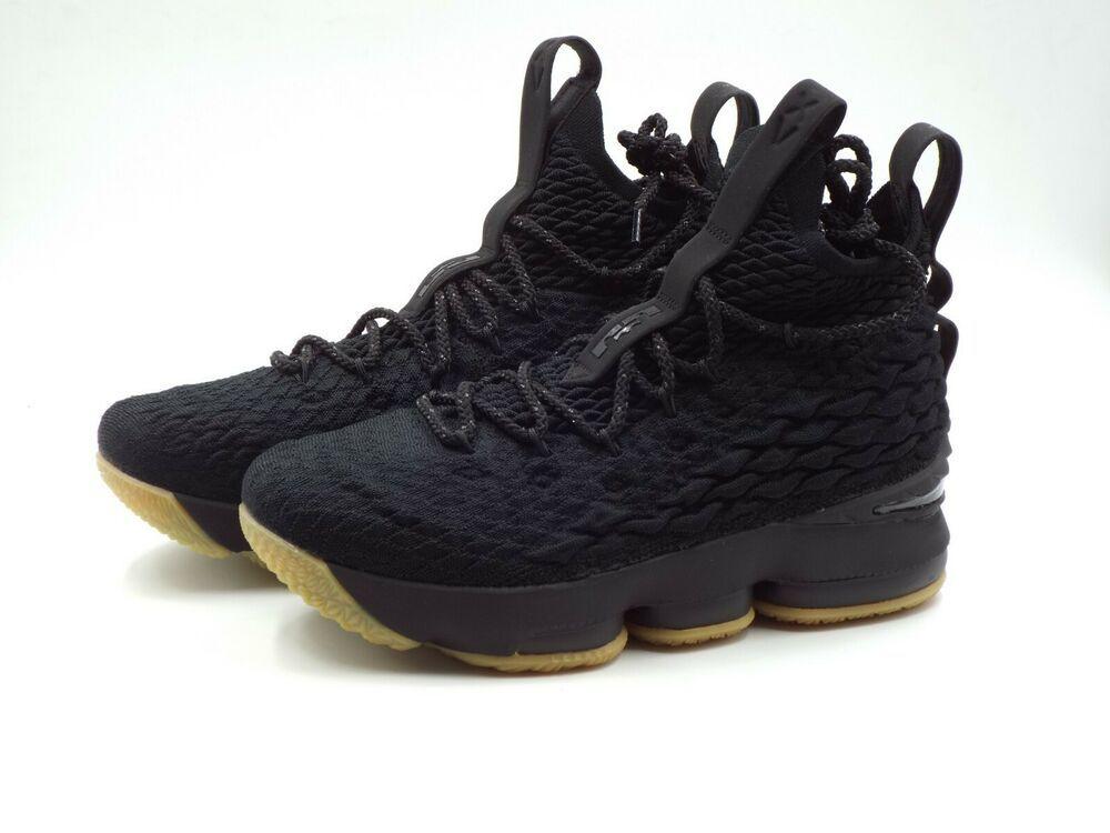 New Nike Lebron XV 15 GS Big Kids Triple Black Gum Bottom Max Air 922811 001