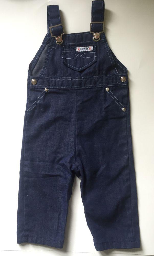 a387e27e49ef Vintage 80s Health-tex Dark Blue Indigo Denim Overalls Boy Girl 24M  Healthtex  Healthtex