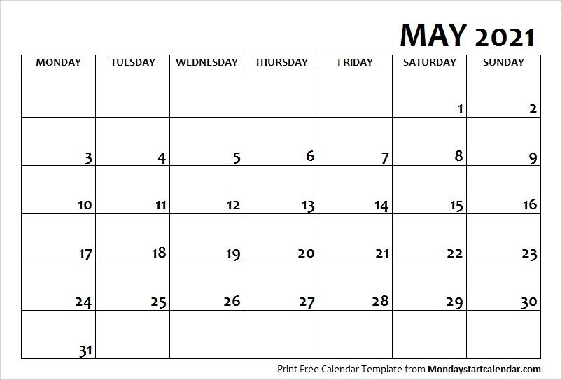 Templates May 2021 Calendar Printable Free In 2020 Calendar Printables Free Calendar Template Calendar Template