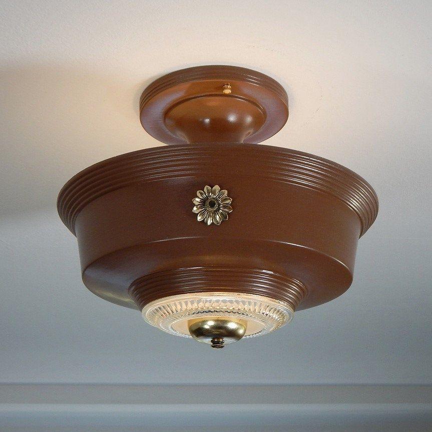 Vintage Beaded Drop Down Ceiling Light Fixture   Etsy ...