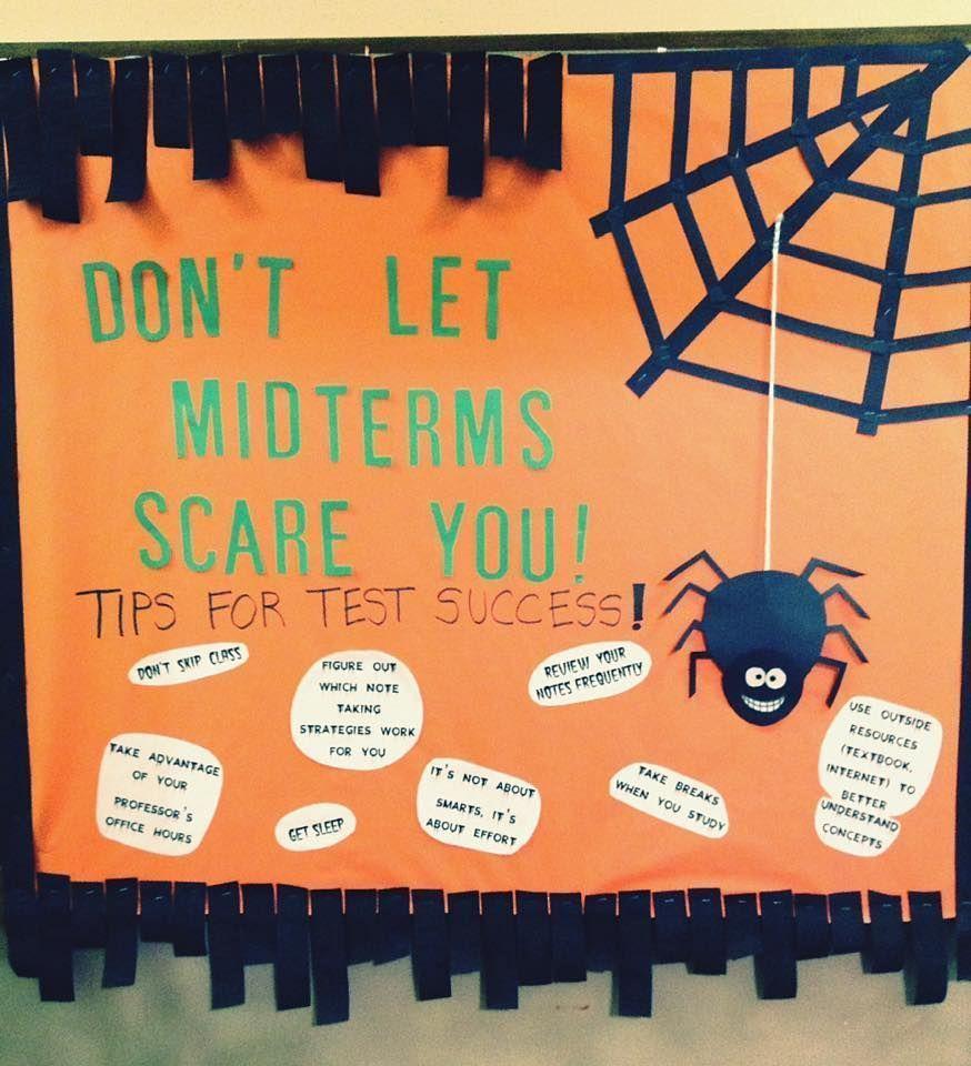October Bulletin Board! #CA #RA #bulletinboard #october #midterms #halloween #octoberbulletinboards