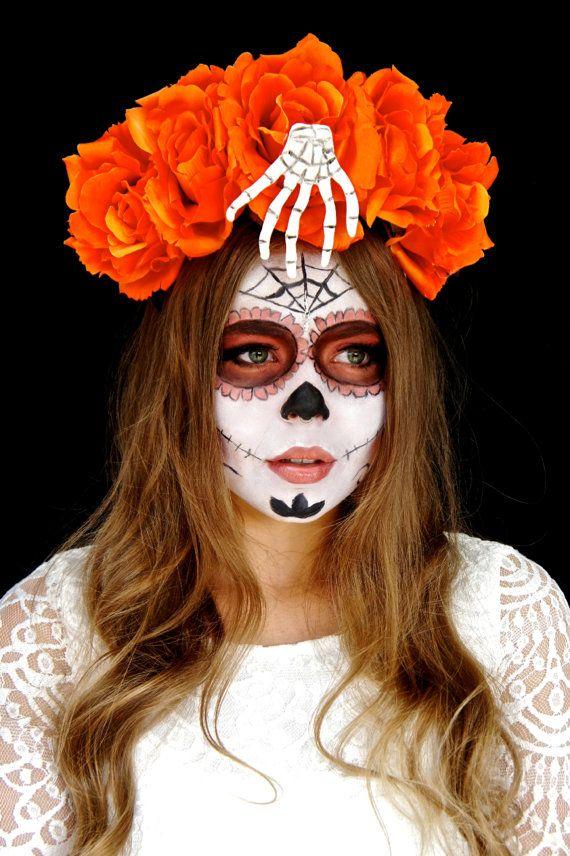 halloween day of the dead flower crown halloween headpiece sugar skull costume orange dia de los muertos headband skeleton hand