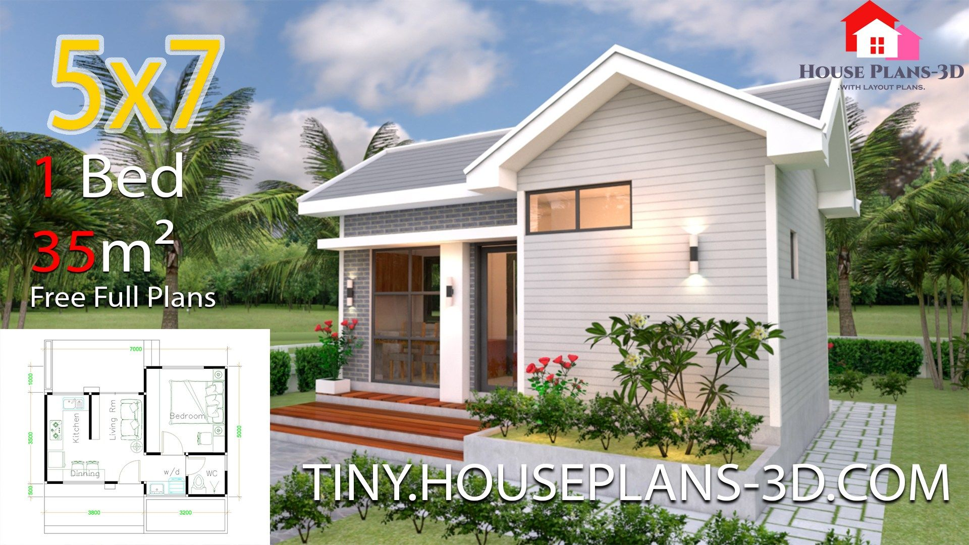 Small House Design Plans 5x7 With One Bedroom Shed Roof The House Has Car Parking And Garden Small House Design Plans Small House Blueprints Tiny House Plans