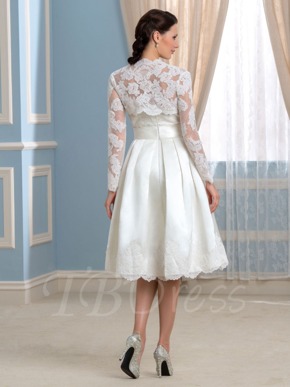 Elegant knee length wedding dresses with sleeves check