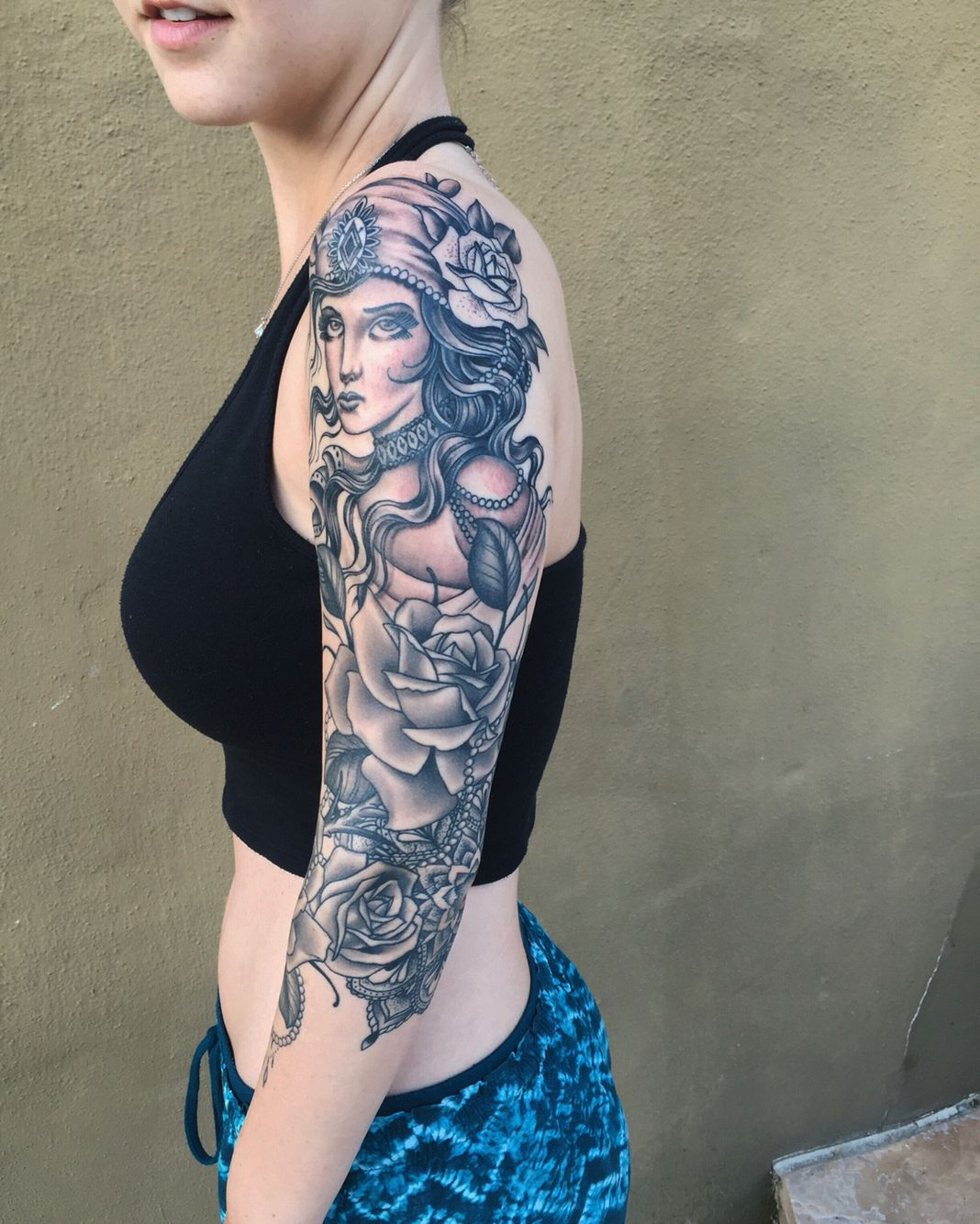 Half Sleeve Gypsy Tattoo With Roses And Mandala Done By