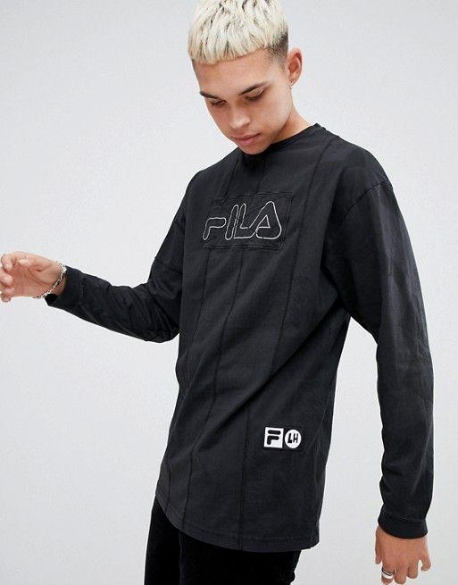 f268f97ba23 Fila x Liam Hodges Long Sleeve Striped T-Shirt In Black