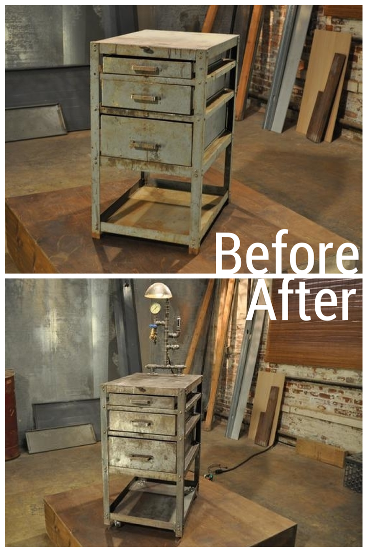 A pipe lighting fixture assembled by hand took this simple set of drawers from solid and industrial to a one-of-a-kind steampunk design.