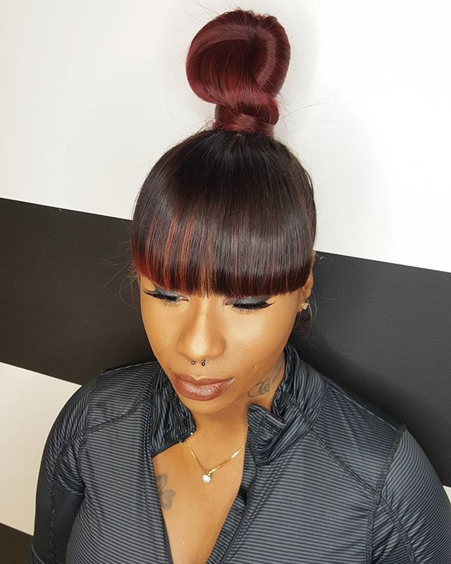 Bun And Bangs Hairstyle With Weave : bangs, hairstyle, weave, Killa!!