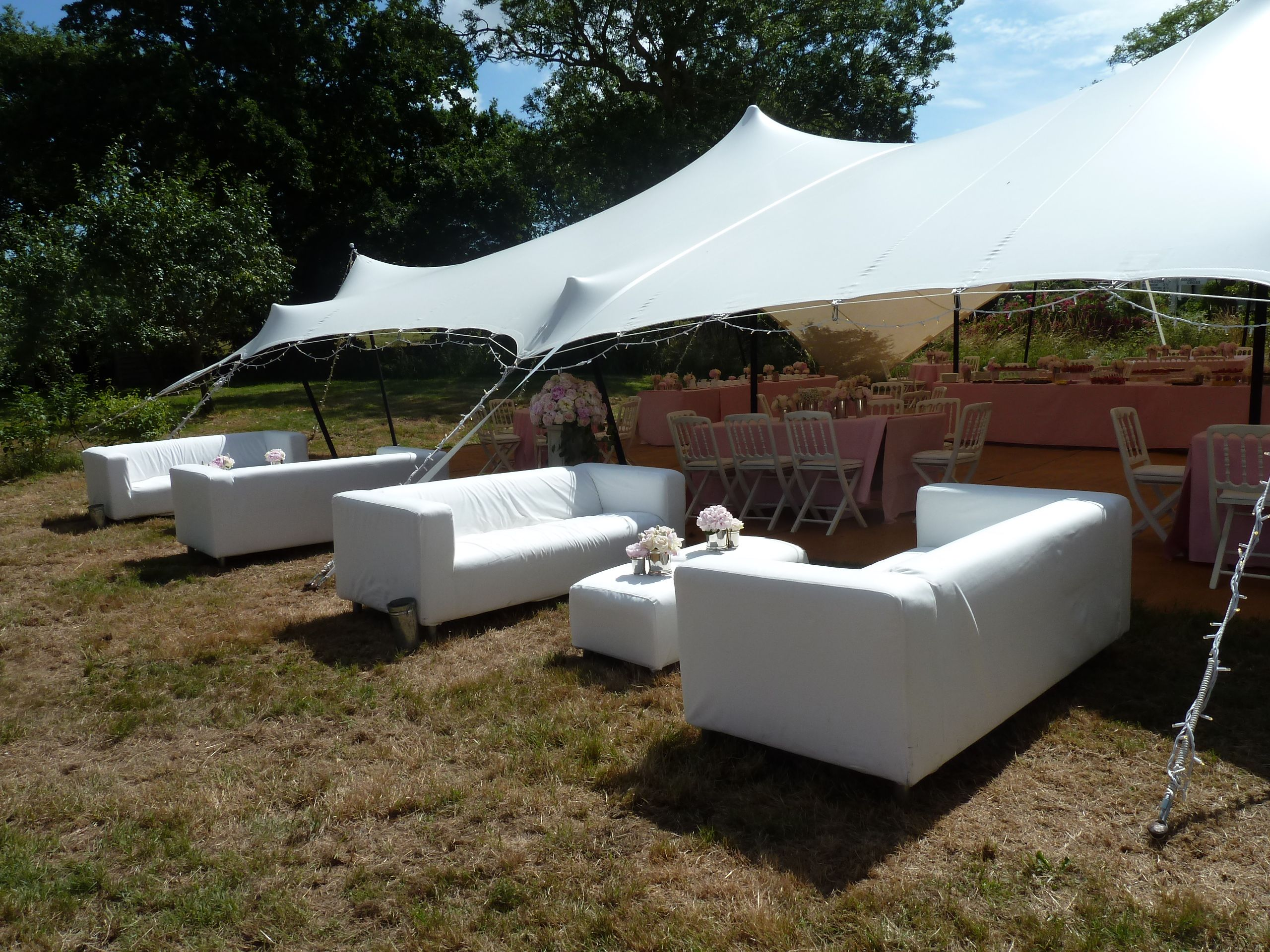 Stretch tent sofas and ottomans available
