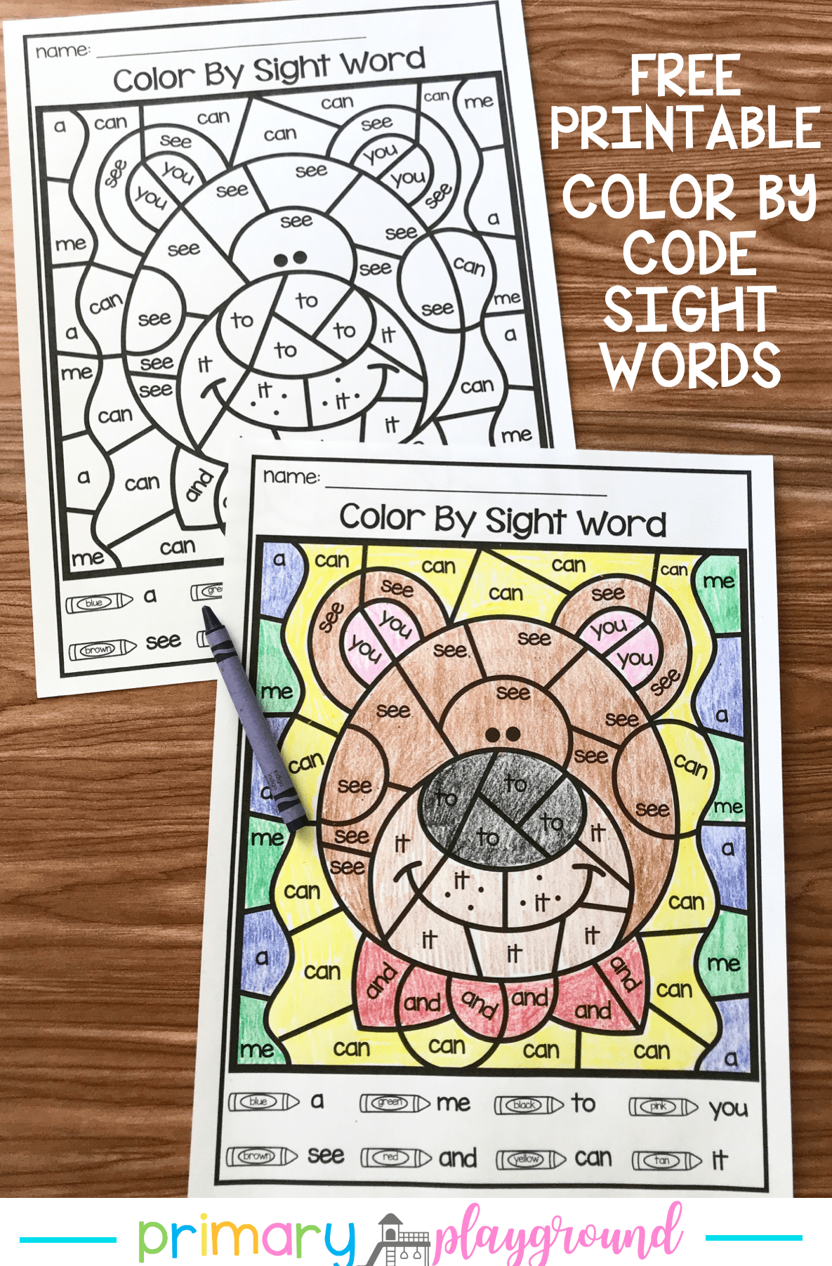 Free Printable Color By Code Sight Words