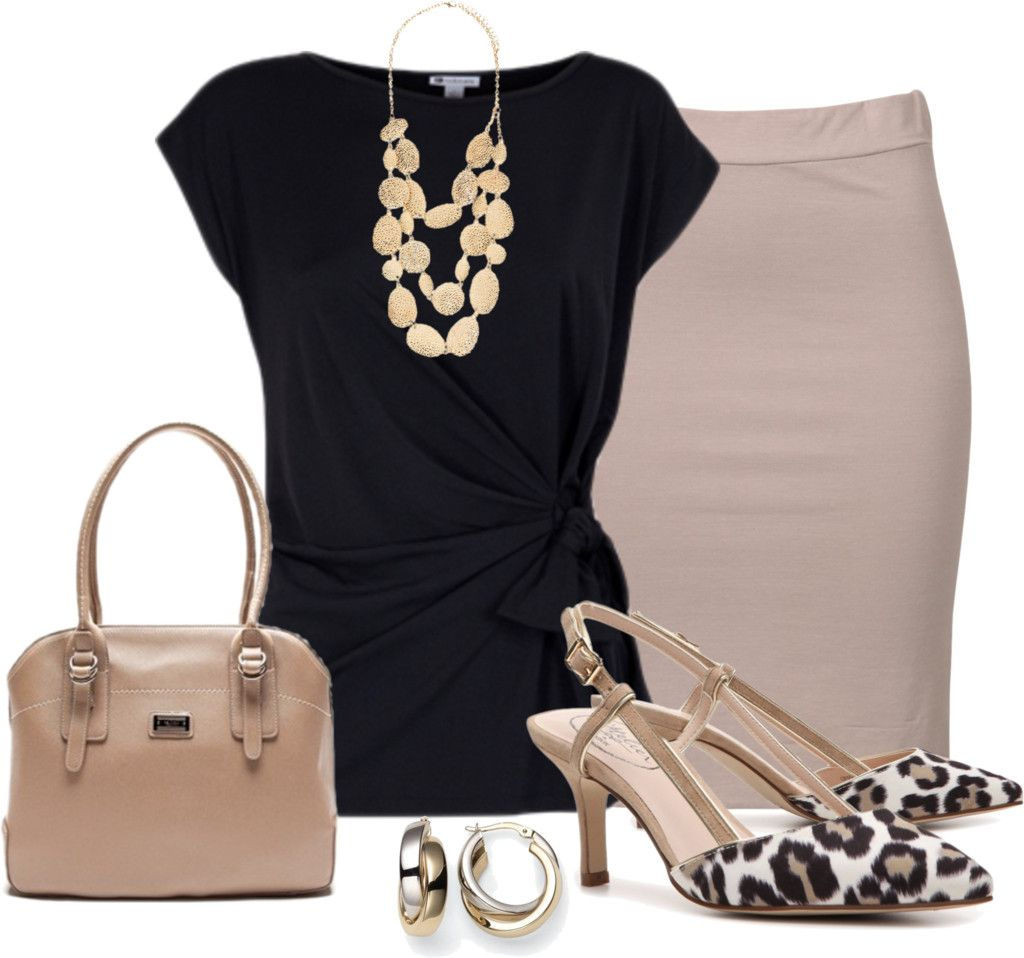 tan pencil skirt, black wrap top, animal low heels, big necklace - I love these shoes!!!