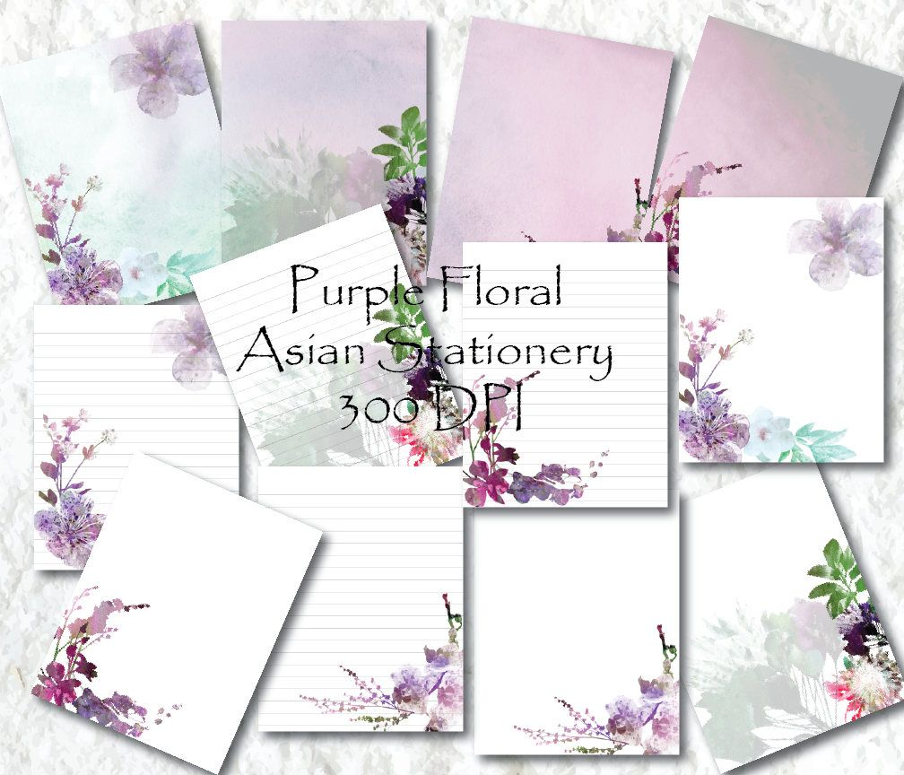 Purple Floral Stationery Paper Printable Stationary Paper Writing