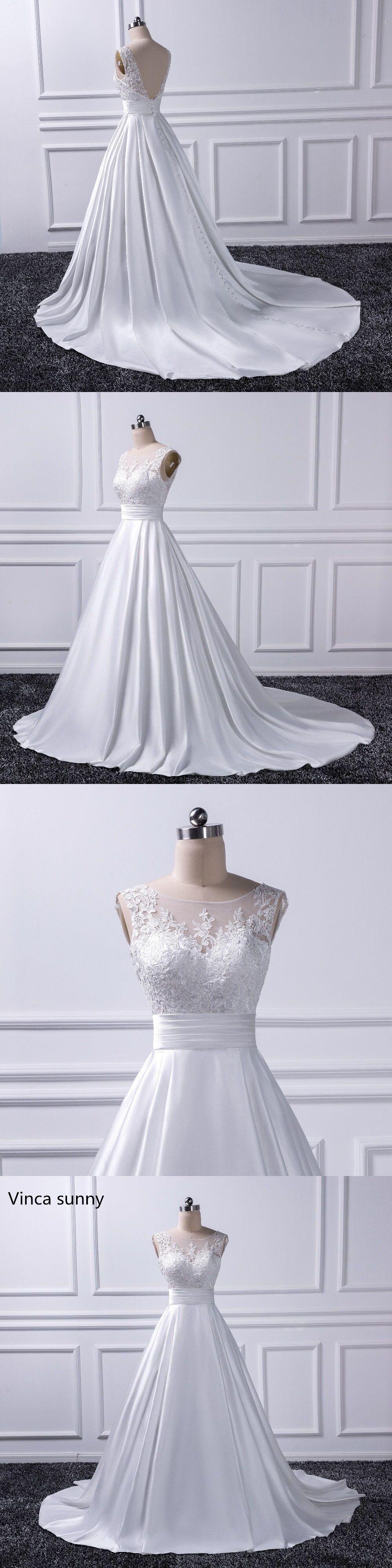 Satin backless wedding dress  Sexy Backless Wedding Dresses  Chapel Train Bridal Gowns Ivory