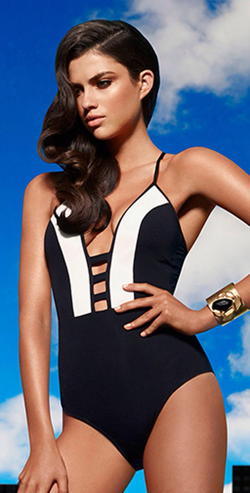 24f426dd1b25b JETS 2014 Classique Plunge Tab Front One Piece Swimsuit.