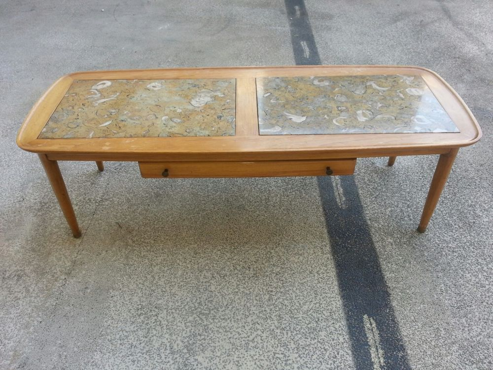 RARE MID CENTURY TOMLINSON SOPHISTICATE MARBLE INLAID SURFBOARD COFFEE TABLE
