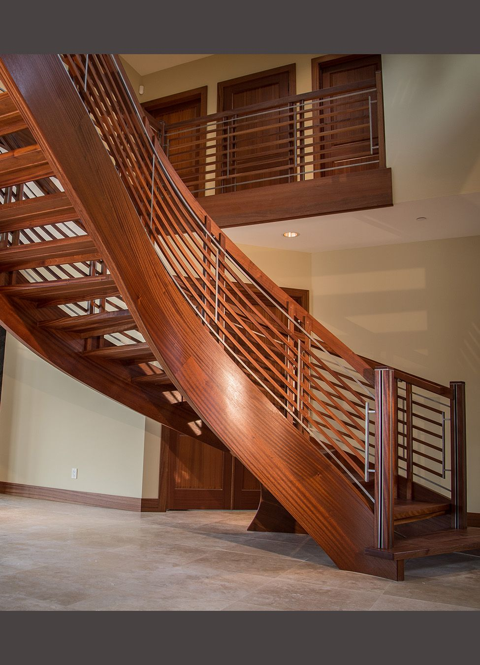 Best Sapele And Stainless Steel Floating Curved Stair Modern 640 x 480