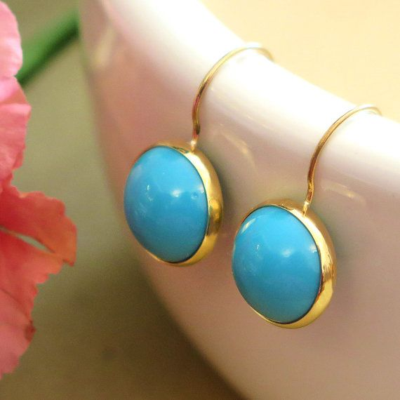 14k Solid Gold Handmade Turquoise Dangle Earrings #jewelry #fashion #accessories #woman #girls #gemstone #gemstonejewels  #style #earrings