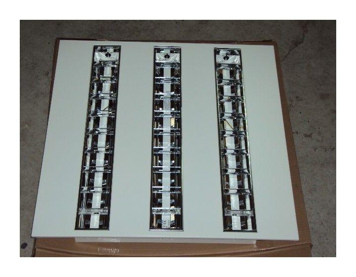 Plafonnier encastrable carré pavé 3X14W corps en métal laqué blanc ballast electronique AMOR pour tube t5 g5 réf TRJ552600 - TRAJECTOIRE