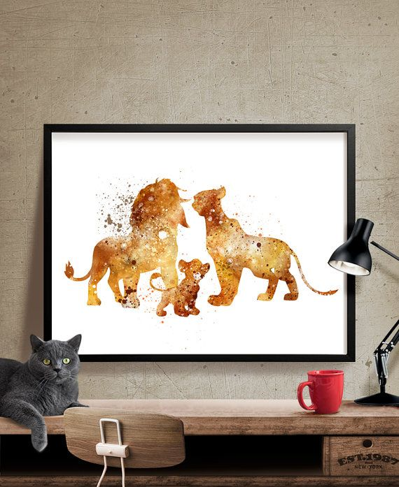 The Lion King Family Disney Watercolor Art By Fineartcenter