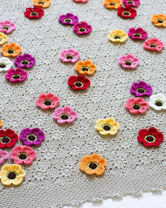 Crochet Blanket PATTERN - Flowerghan - crochet pattern for flower ...