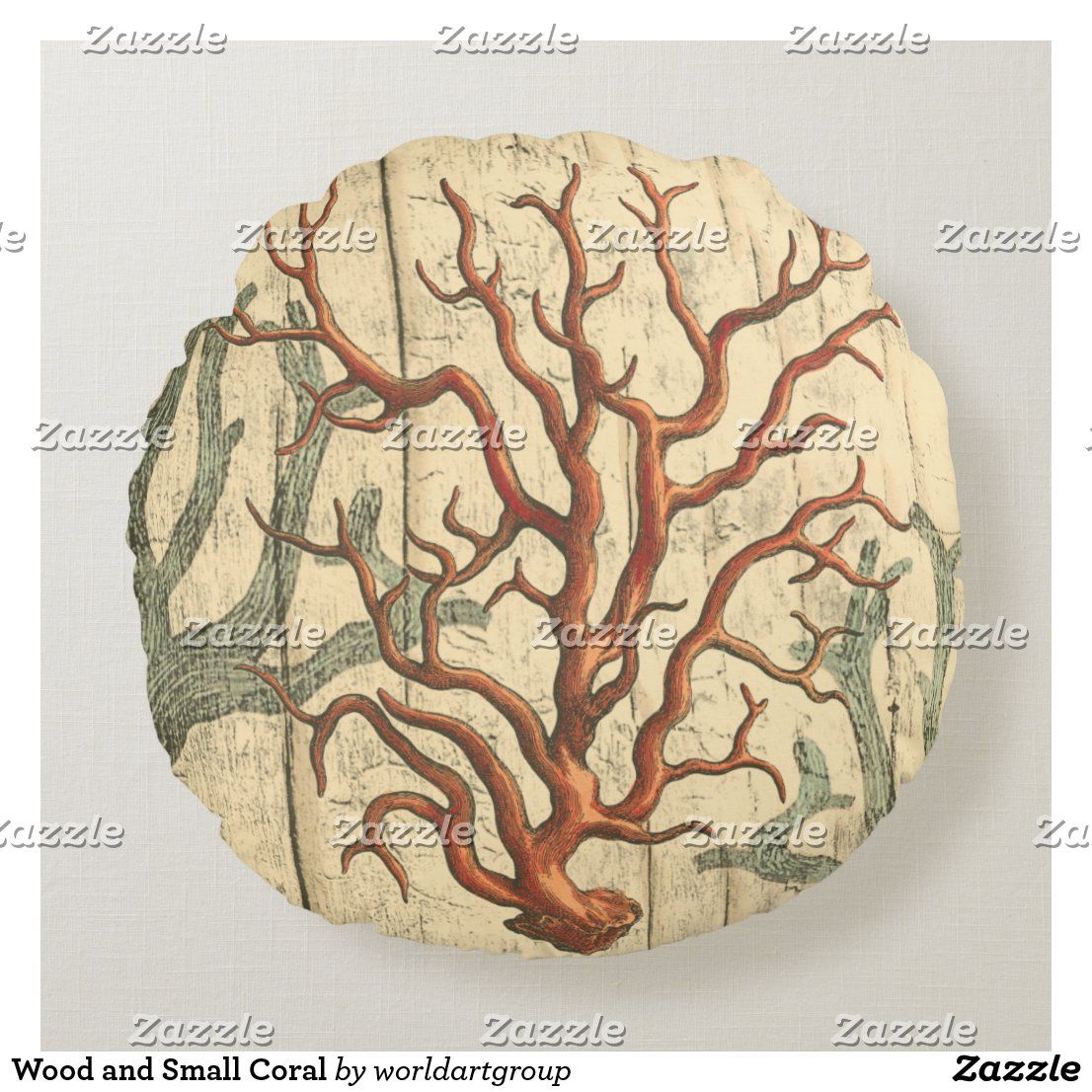 Wood and Small Coral Round Pillow