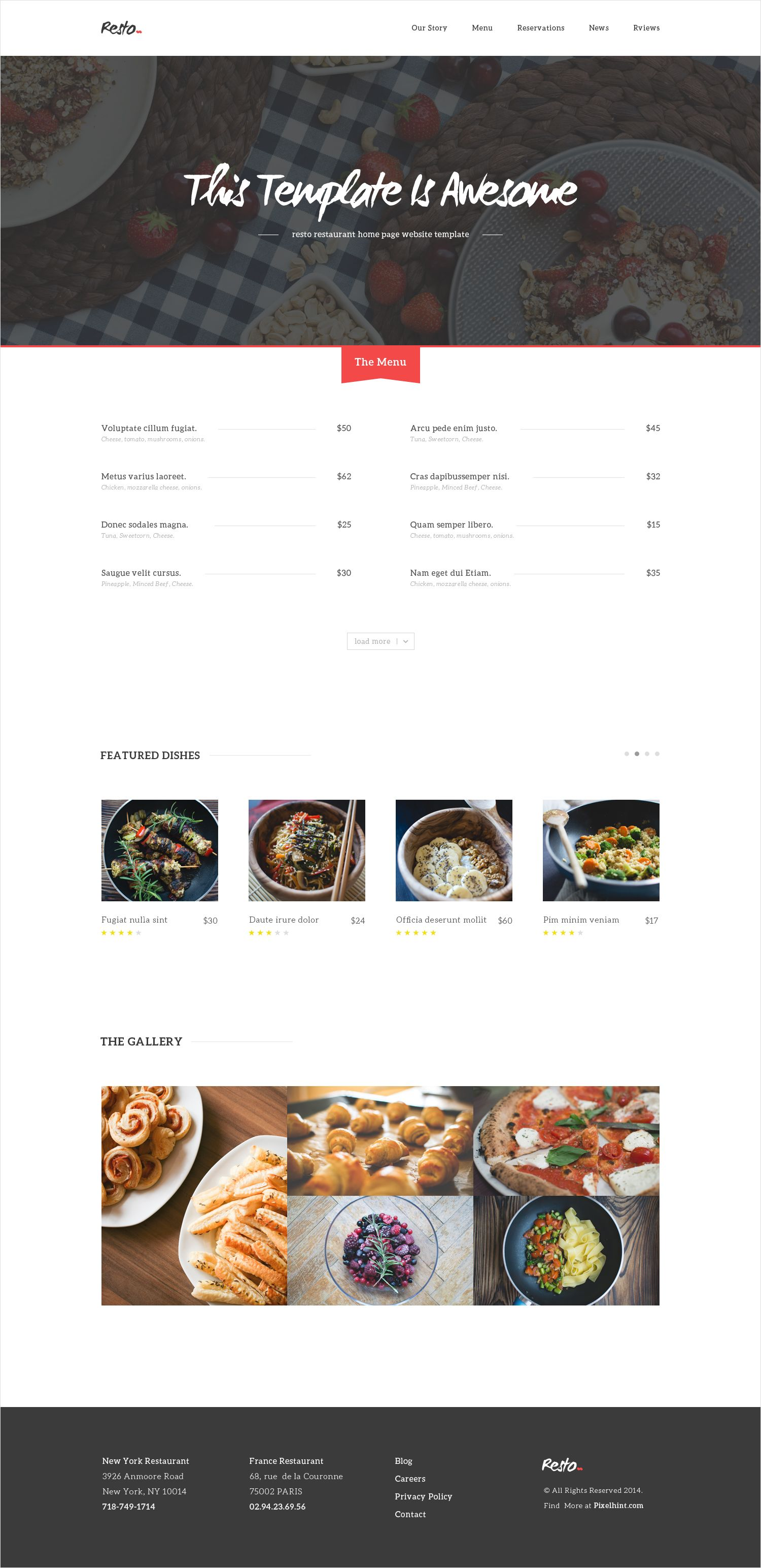 Resto Free Beautiful Restaurant Psd Home Page Website Template Website Template Restaurant Website Templates Cafe Website