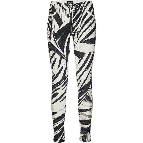 Marciano Pants with abstract print ($165) ❤ liked on Polyvore featuring pants, slim trousers, patterned pants, slim fit pants, patterned trousers and print pants