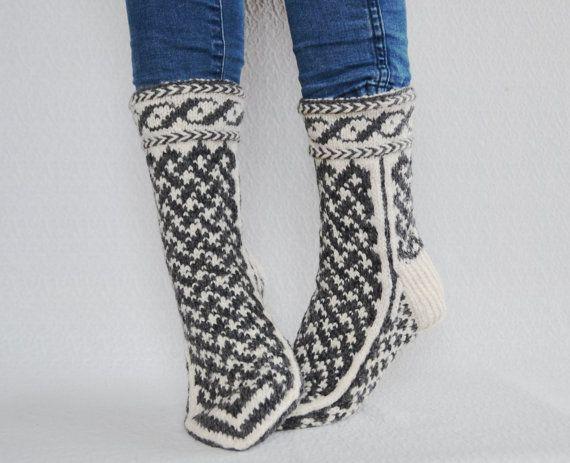 10 8.5 42 Handknit wool socks thick women men warm by WoolSpace ...