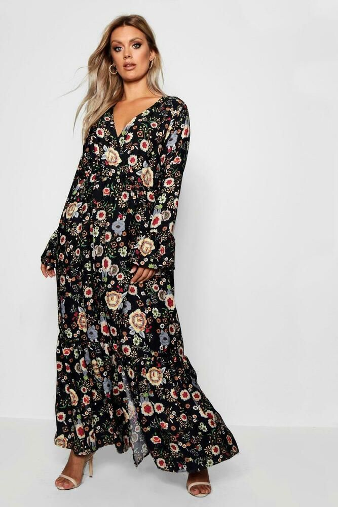5b52db16c6a BNWT Boohoo Plus Black Floral Print Wrap Front Maxi Ruffle Dress UK 16   fashion