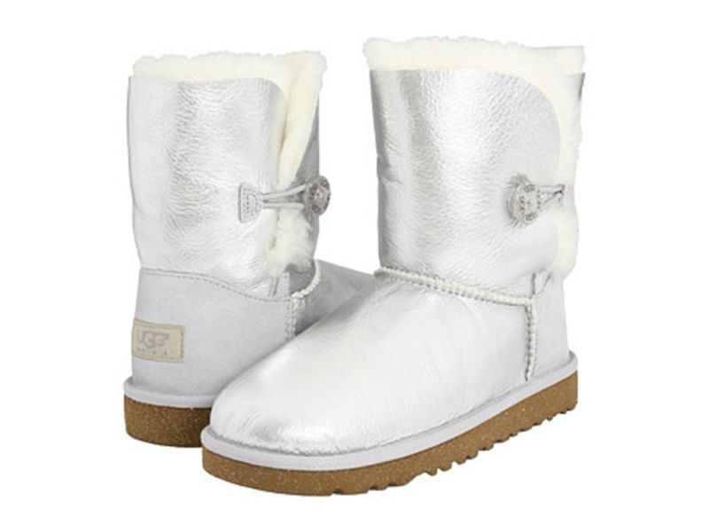 ad2f42e4cf66 UGG Austrailia   BAILEY BUTTON Metallic Sparkle Boots STERLING Silver ~ 9 Y