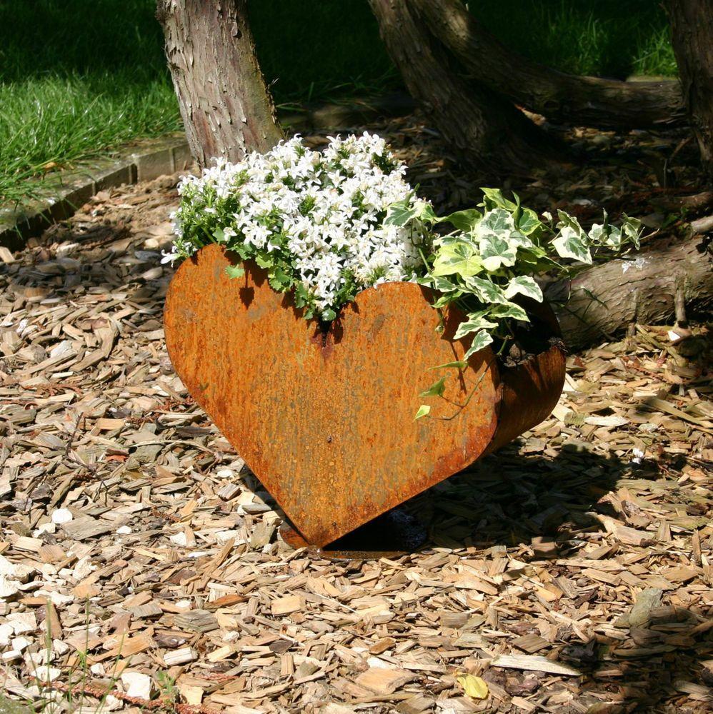 Pflanzgefäß Herz Edelrost Rost Deko Zum Bepflanzen Garten Terrasse Dekoration Gartenfiguren Skulpturen Ebay Sagome