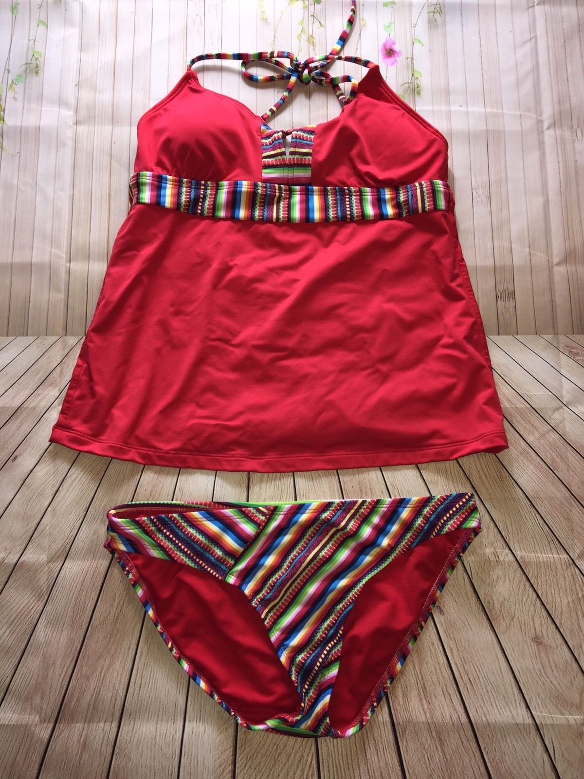 aee3250b454 Women's Mossimo 2 Piece Red Multicolored Striped Tankini Set. Adorable  swimwear. Size: Small. | eBay!