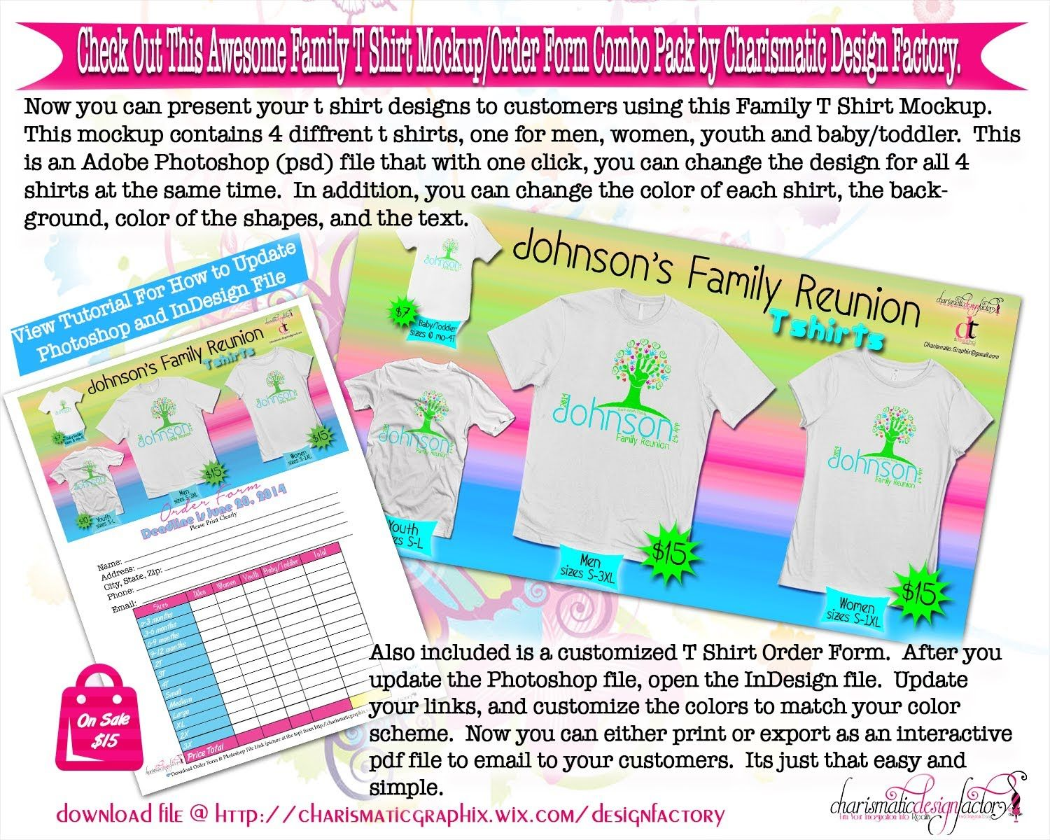 Family T Shirt Mockup  Order Sheet Can Be Downloaded From Http
