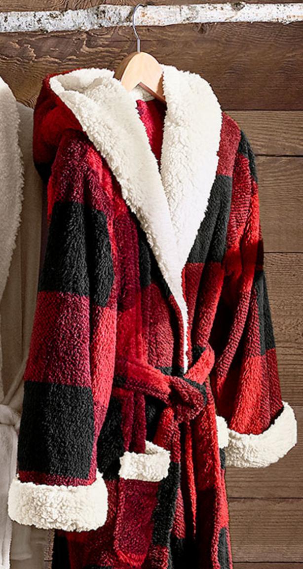 Super Cozy Buffalo Check Sherpa Robe Cute Outfits