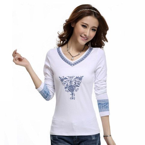 Material: 97% cotton, 3% spandex Washing Suggestion: washed by hand in cold water Features:Chinese national style; embroidery blue and white porcelain pattern