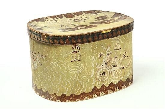 """<b>BAND BOX.</b> <br  /> Rhode Island, mid 19th century. Oval cardboard box with yellow wallpaper featuring a wagon pulled by a dove and a camel on the lid. Lid has paper label for """"Henry Cushing & Co., Paper Hangings and Band Boxes...Providence"""". Worn areas with split in lid. 10""""h. 16""""l."""