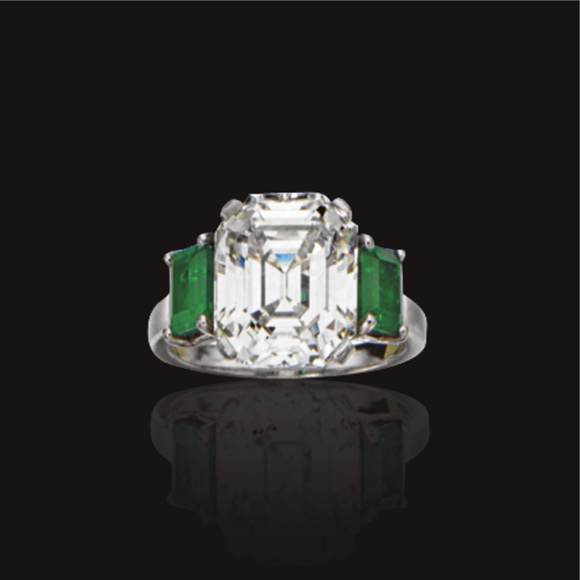 7c038928ba940 Jewelry at Sotheby's - Asscher-cut diamond and emerald side stones ...