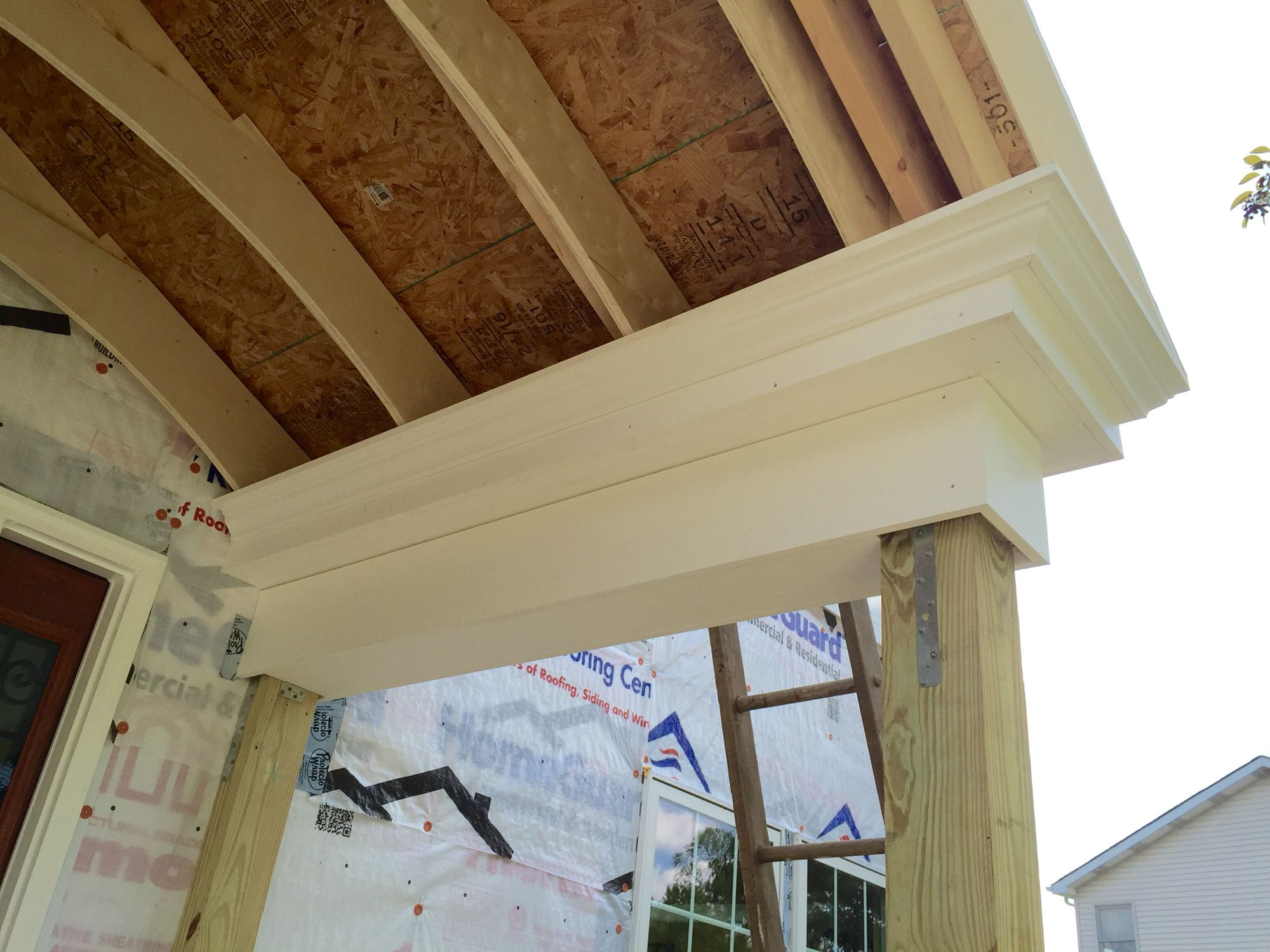 Close up of Versatex PVC trim on Portico | home exterior makeover ...