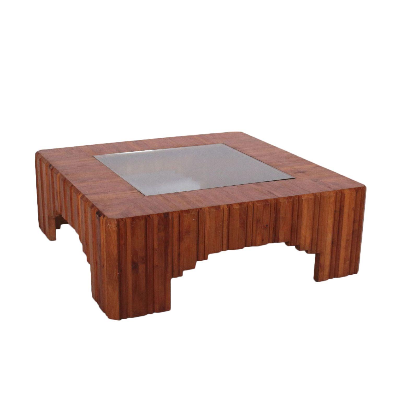 Tisch Kiefernholz Glas Italien 70er Jahre Table Bois Verre Bois Table Basse