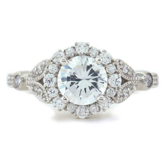 Vintage Floral Style Halo Engagement Ring