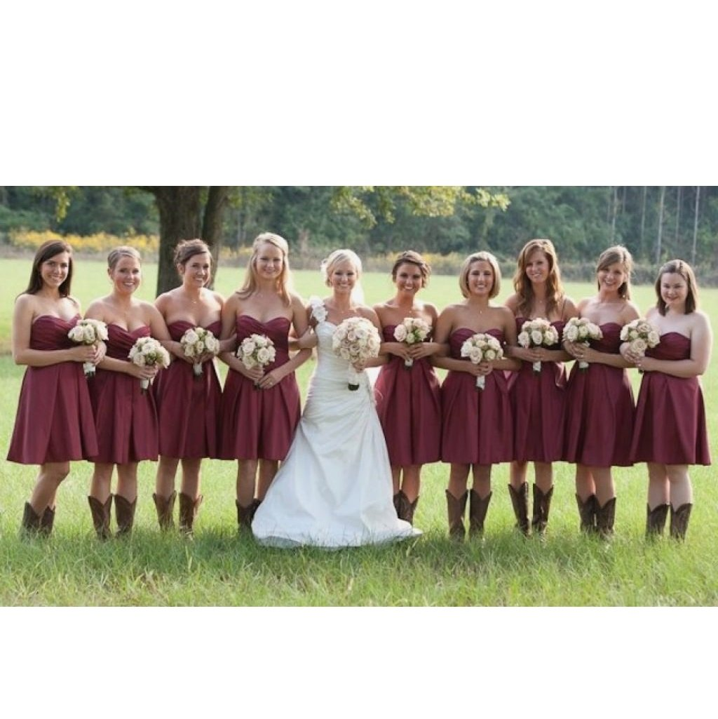 Strapless Rustic Country Short Bridesmaid Dresses With Cowboy Boots Gdc1500 In 2021 Country Bridesmaid Dresses Country Bridesmaid Country Wedding Bridesmaids [ 1025 x 1024 Pixel ]