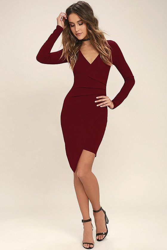 57fb726f7317 You'll adore every single thing about the Love Me Completely Dark Red Long  Sleeve Bodycon Dress! Stretch knit fabric swoops across a darted, surplice  bodice ...